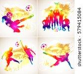 bright rainbow silhouette...   Shutterstock . vector #579415084