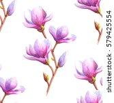 hand drawn watercolor seamless...   Shutterstock . vector #579425554