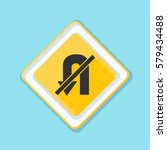 no u turn sign illustration | Shutterstock .eps vector #579434488