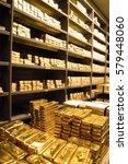stacks of  gold bars in... | Shutterstock . vector #579448060
