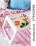 breakfast in bed on tray with... | Shutterstock . vector #579453988
