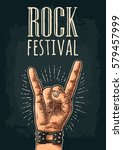 rock and roll sign. hand with... | Shutterstock .eps vector #579457999