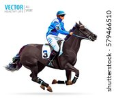 jockey on horse. champion.... | Shutterstock .eps vector #579466510