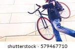 business man carrying sport... | Shutterstock . vector #579467710