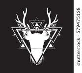 hand sketched deer.... | Shutterstock .eps vector #579475138