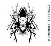 hand sketched deer.... | Shutterstock .eps vector #579475228