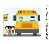 school bus kids transport... | Shutterstock .eps vector #579490213