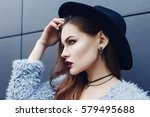 portrait of young beautiful... | Shutterstock . vector #579495688
