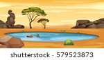 scene with water hole on the... | Shutterstock .eps vector #579523873