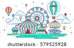 Flat line amusement park or theme park graphic design in creative advertising banner background. Flat amusement park with entertainment concept in isolated background, create by vector