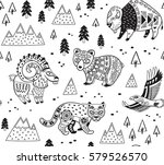 outline seamless pattern of... | Shutterstock .eps vector #579526570