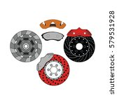 brake disc with pad set. vector ... | Shutterstock .eps vector #579531928