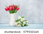 Red And White Tulips Bouquet I...