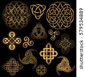 set of golden ancient pagan... | Shutterstock .eps vector #579534889