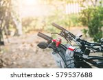 bicycle parking in the garden... | Shutterstock . vector #579537688