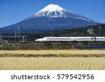 tokaido shinkansen and fuji... | Shutterstock . vector #579542956