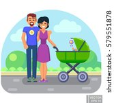happy young family with a baby... | Shutterstock .eps vector #579551878