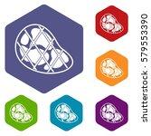 steak icons set rhombus in... | Shutterstock . vector #579553390