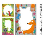 cute happy birthday border... | Shutterstock .eps vector #579557404