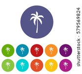 palm tree set icons in... | Shutterstock . vector #579569824