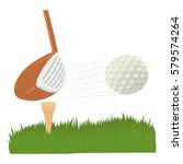 hit golf ball icon. cartoon... | Shutterstock . vector #579574264