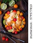 sliced chicken breasts with... | Shutterstock . vector #579577813