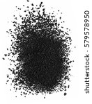 Small photo of black powder activated carbon on a white background