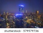 blue hour dusk at melbourne... | Shutterstock . vector #579579736