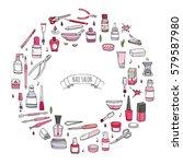 hand drawn doodle nail salon... | Shutterstock .eps vector #579587980