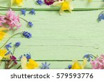Flowers On Green Wooden...