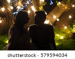 wedding couple in magical night ... | Shutterstock . vector #579594034