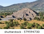 pyramid of the moon with plaza... | Shutterstock . vector #579594730