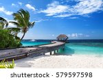 tropical maldives island with... | Shutterstock . vector #579597598