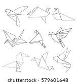 vector paper origami bird... | Shutterstock .eps vector #579601648