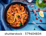 roasted prawns with parsley ... | Shutterstock . vector #579604834