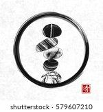 pebble zen stones balance in... | Shutterstock .eps vector #579607210
