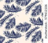 blue palm leaves pattern  | Shutterstock .eps vector #579612106