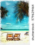 watercolor of coconut tree and... | Shutterstock . vector #579629464