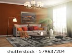 interior with sofa. 3d... | Shutterstock . vector #579637204