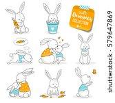 Cute Little Bunnies Set. Hand...