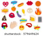fashion patch badges with heart ...   Shutterstock .eps vector #579649624