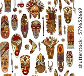 tribal mask ethnic  seamless... | Shutterstock .eps vector #579652669