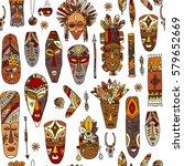 tribal mask ethnic  seamless... | Shutterstock .eps vector #579652669