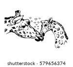 giraffe with cub vector...   Shutterstock .eps vector #579656374
