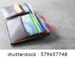 opened brown leather wallet...   Shutterstock . vector #579657748