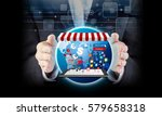 online shopping concept of... | Shutterstock . vector #579658318