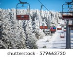 ski lift with skiers being... | Shutterstock . vector #579663730