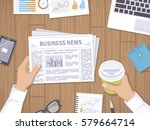 business news. businessman... | Shutterstock .eps vector #579664714