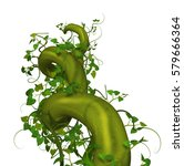3D render of a rising twisted beanstalk.