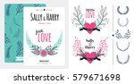 floral save the date invitation ... | Shutterstock .eps vector #579671698